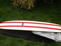 Custom longboard, endless summer 2 pattern. modern thruster fin set up. no dings no repairs.