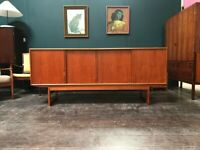 SAFE DELIVERY AVAILABLE- Danish Sideboard with Sliding Doors and Sled Legs. Vintage Mid Century