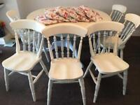 Vintage Shabby Chic Round Dining Table With 6 Chairs