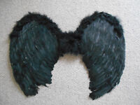 Fancy Dress pair of black feathered wings