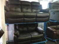 New/Ex Display LazyBoy Leather 2 + 3 Recliners Sofas Opitonal Footstool available