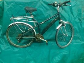 "Raleigh 26"" wheel bicycle with rack"