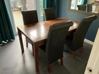 Solid Wood Extendable Next Dining Table with 4 chairs