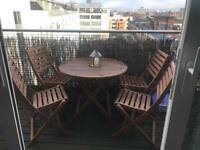 Wodden table and 4 chairs for garden or balcony