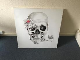Skull and Rose canvas print.