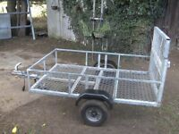 FULLY GALVANISED 6X4 GOODS TRAILER WITH RAMP-TAIL FACTORY BUILT.