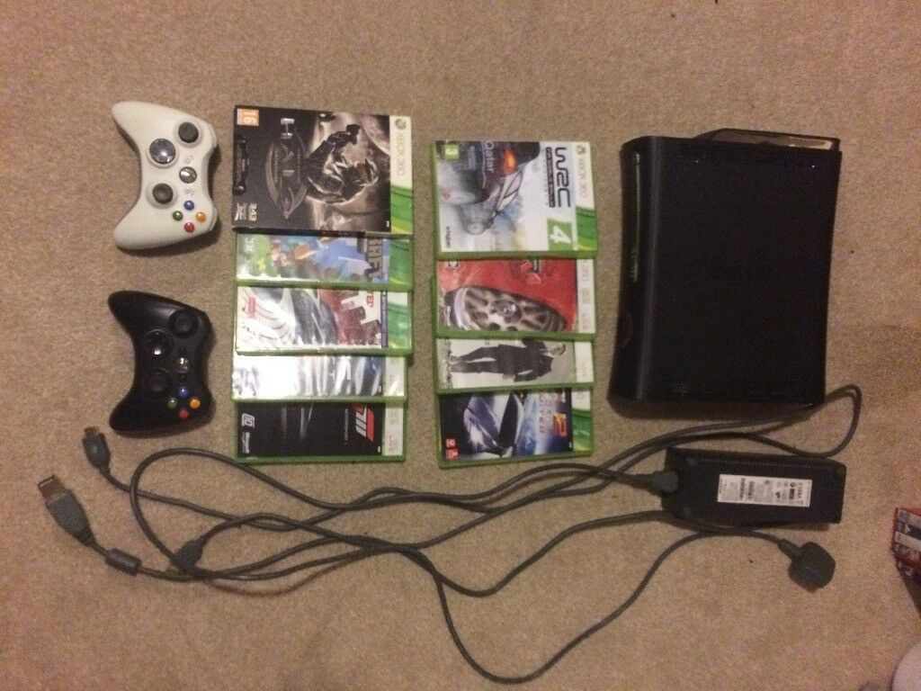 XBOX 360 + 2 CONTROLLERS + 9 GAMES