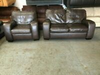 Designer real leather two seater & one seater armchair