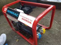 Honda Generac HP 2500 FF generator, very good condition, not site used, 2.5kva, 5.5hp