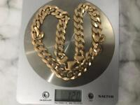 Solid heavy 9ct gold curb chain 120gr (4.2oz )