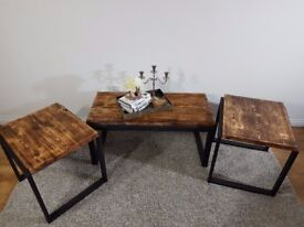 Solid Wooden Rustic Industrial Coffee Table Side Tables