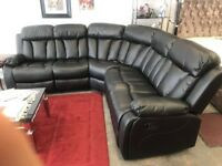 Recliner Corner leather sofa Black Brand new