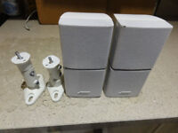 2X BOSE WHITE DOUBLE CUBE ACOUSTIMASS LIFESTYLE SPEAKERS