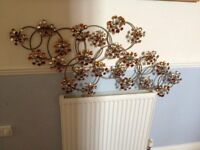 Large Stunning wall art - metal with glass silver and gold flowers