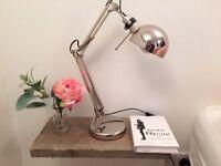 Two Sleek chrome minimalist lamps