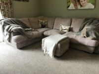 Corner sofa, chair and foot stool