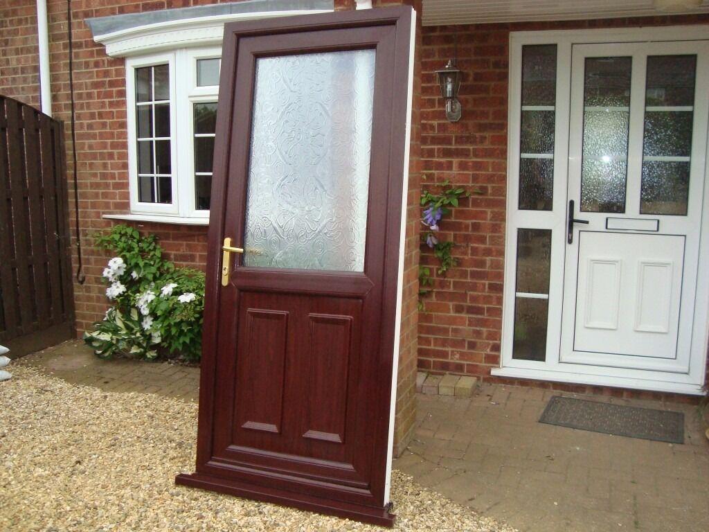 Upvc door insert panel rosewood outside white inside for Reclaimed upvc doors