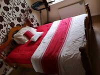 Solid king size bed and mattress