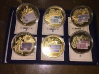 GOLD PLATED COINS 2 BOX SET