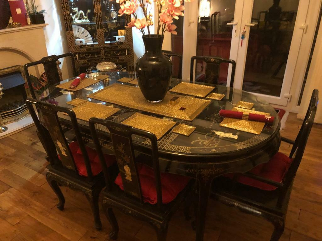 Mother Of Pearl Chinese Dining Table And Chairs