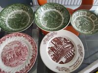 Assortment of plates and 3 bowls.