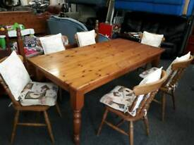 6' solid wood kitchen table and 6 chairs