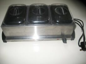 Three Compartment Electric Buffet Warming / Serving Tray