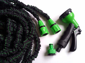EXPANDING EXPANDABLE ELASTIC COMPACT GARDEN HOSE PIPE WITH SPRAY 50FT, 75FT ,100FT