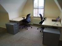 Office Furniture - 2 sets desk, chair and drawer/file cabinet