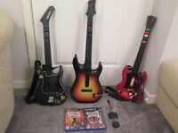 Assorted PS2/3 Guitar Hero Games/Guitars & dongles
