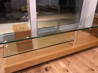 Glass and oak TV stand