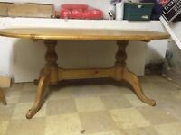 Pine Dining/Kitchen Table and 6 Chairs for Sale - Suitable as an up-cycling project