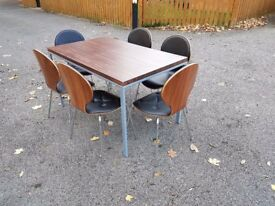 Walnut Veneer Dining Table 130cm & 6 Bentwood & Leather Chairs FREE DELIVERY 394