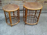2 x Bamboo and wicker coffee tables fit one under each other