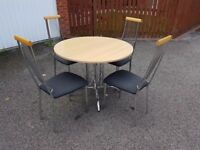 Round Italian Made Wood & Chrome Table & 4 Chairs FREE DELIVERY 358