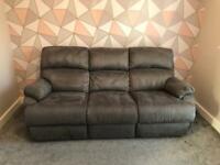 Sofology Warwick 3 Seater Double Recliner Full Back Buckskin Slate Grey Sofa