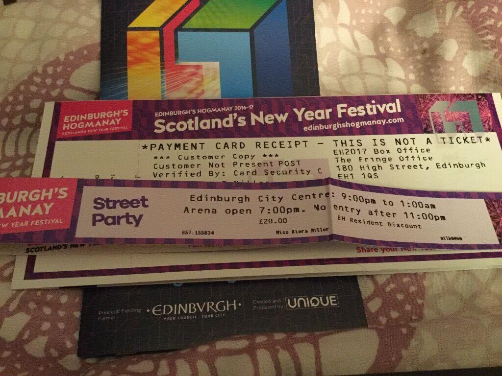 Edinburgh Hogmanay Street Party. 2 Tickets