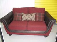 Brand New 2 Seater Argyle Sofa In Highland Red