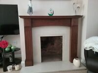 Oak Fire Place and Marble Surround and Hearth