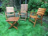 Solid wood garden chairs & table