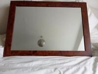 Wood effect rectangle mirror