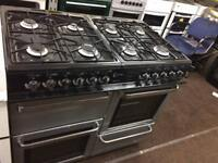 Black & silver flavel 100cm dull fuel cooker grill & double fan ovens with guarantee