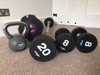 Professional Quality Urethane 20kg Barbell, 8kg Dumbbells, 10kg Kettlebells and 6kg Medicine Ball