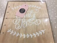 Wooden covered 32 page wedding guest book by Ginger Ray