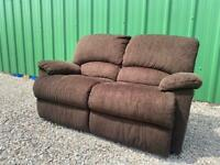 DELIVERY INCLUDED - BROWN FABRIC TWO SEATER MANUAL RECLINER SOFA SETTEE