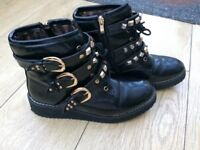 Woman's chunky heel buckled ankle boots size 5