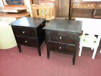 Pair of Solid Wood 2 Drawer Bedsides