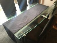 Harvey's extendable glass dining table and four chairs. Barely used