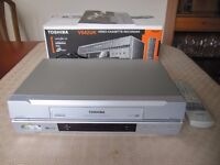 Toshiba Video Cassette Recoder/player & Remote + box of usable Cassettes