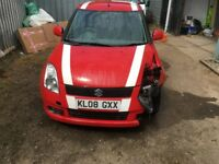 2008 SUZUKI SWIFT 1.5 VVTS GLX RED 5DR LIGHT FRONT DAMAGED UNRECORDED HPI CLEAR MOT 74K MILES DRIVES